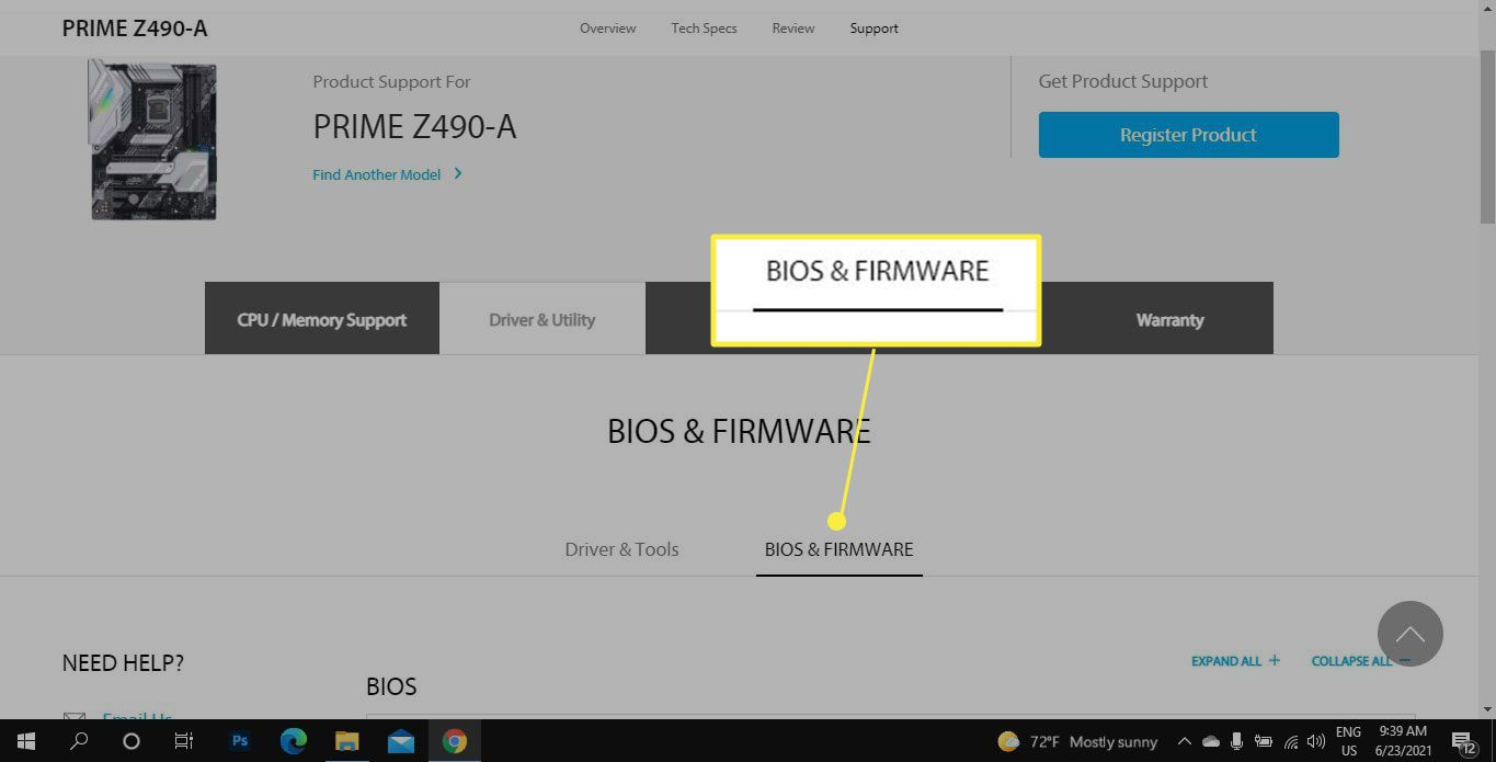 BIOS & Firmware in Asus Support Center