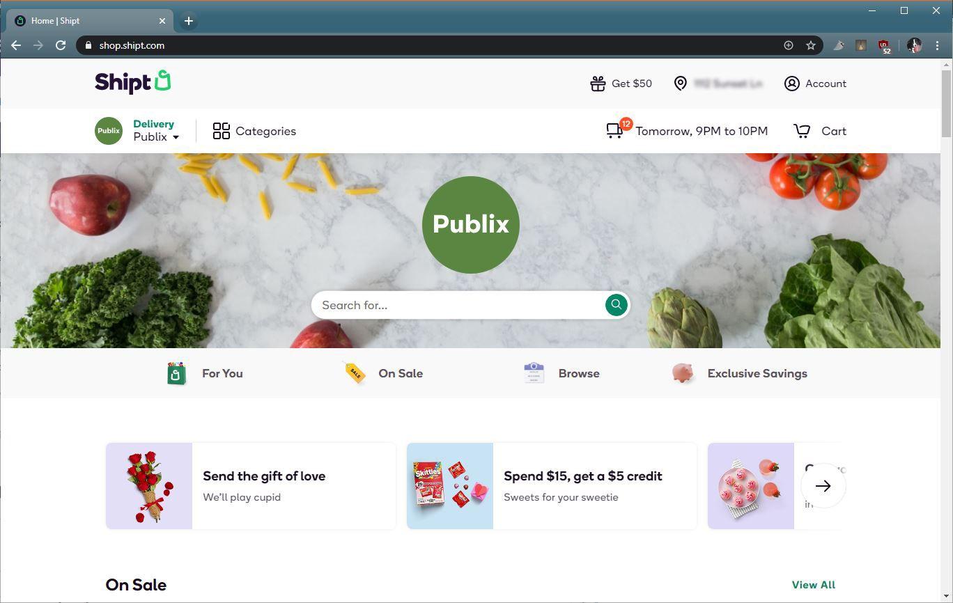 A screenshot of Shipt.