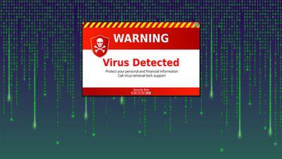 Alert message of virus detected.