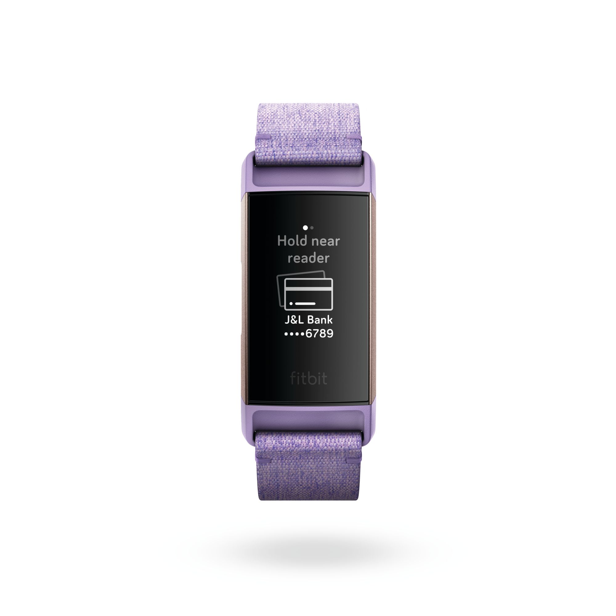Fitbit Charge 3 fitness band with payment screen.