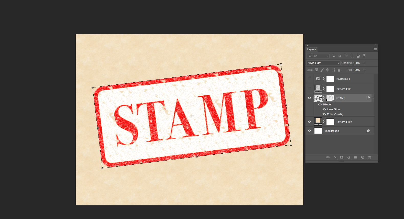 The Vivid Light blend mode is applied to the Stamp layer and the Stamp Layer is slightly rotated