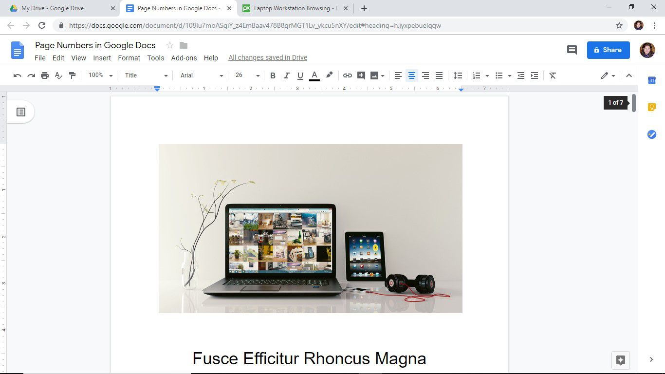 Hiding the page number of the first page of a Google Docs document