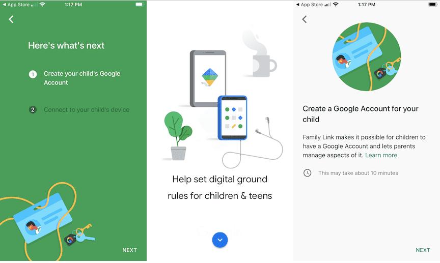 Google Family Link account create