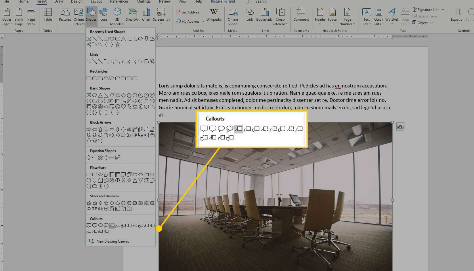 Insert Shapes menu in Microsoft Word with the Callouts section highlighted