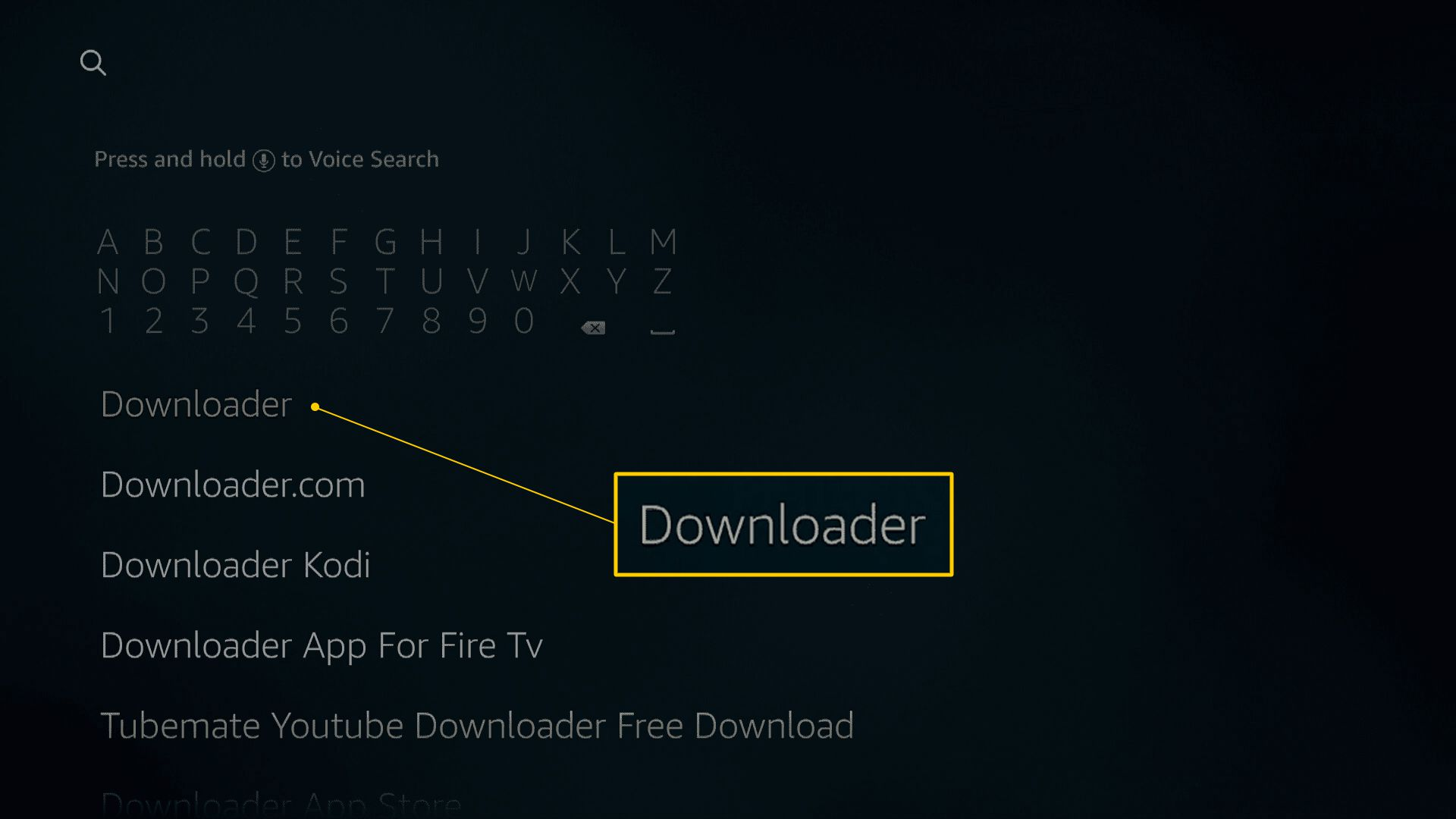 Downloader search on Fire TV Search page