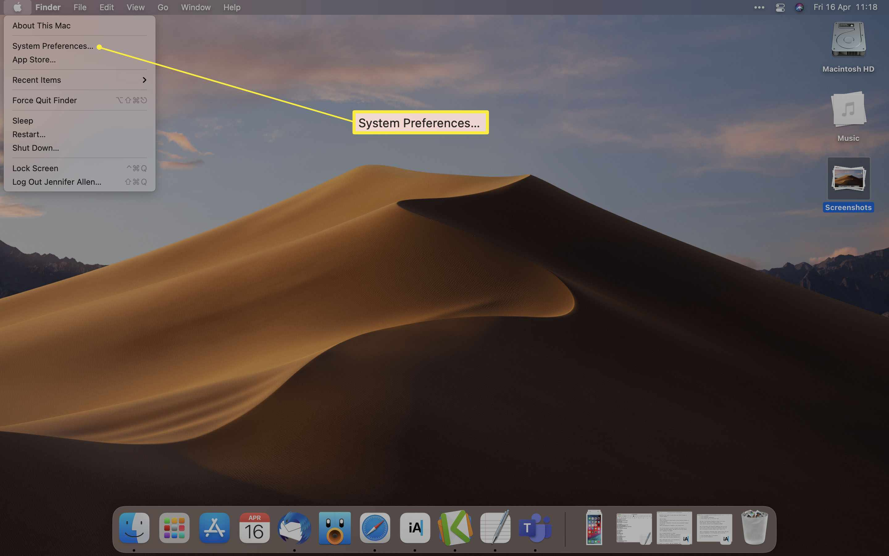MacOS desktop with System Preferences highlighted