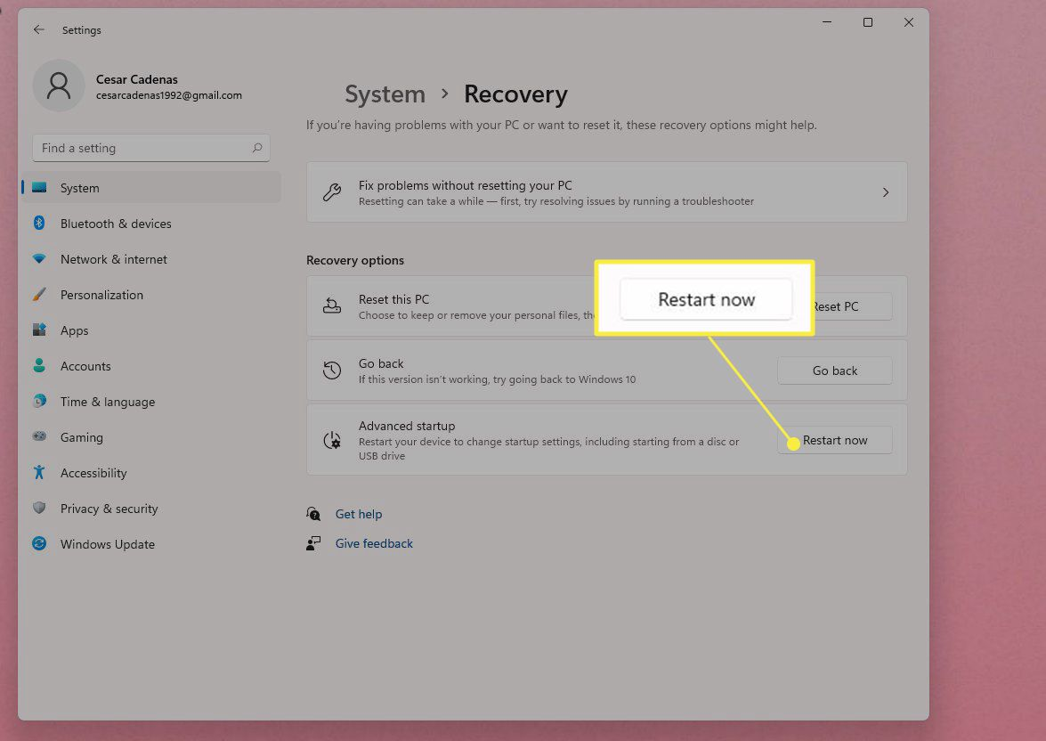 Settings Menu Advanced Startup with Restart Now highlighted