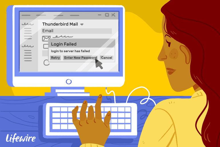 Illustration of a person clicking Enter New Password button on a computer