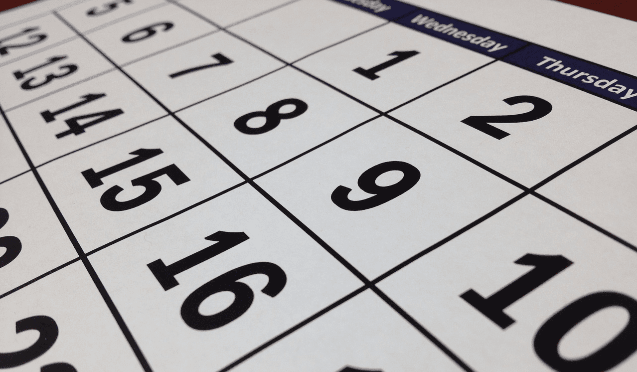 A picture of a printed calendar sheet