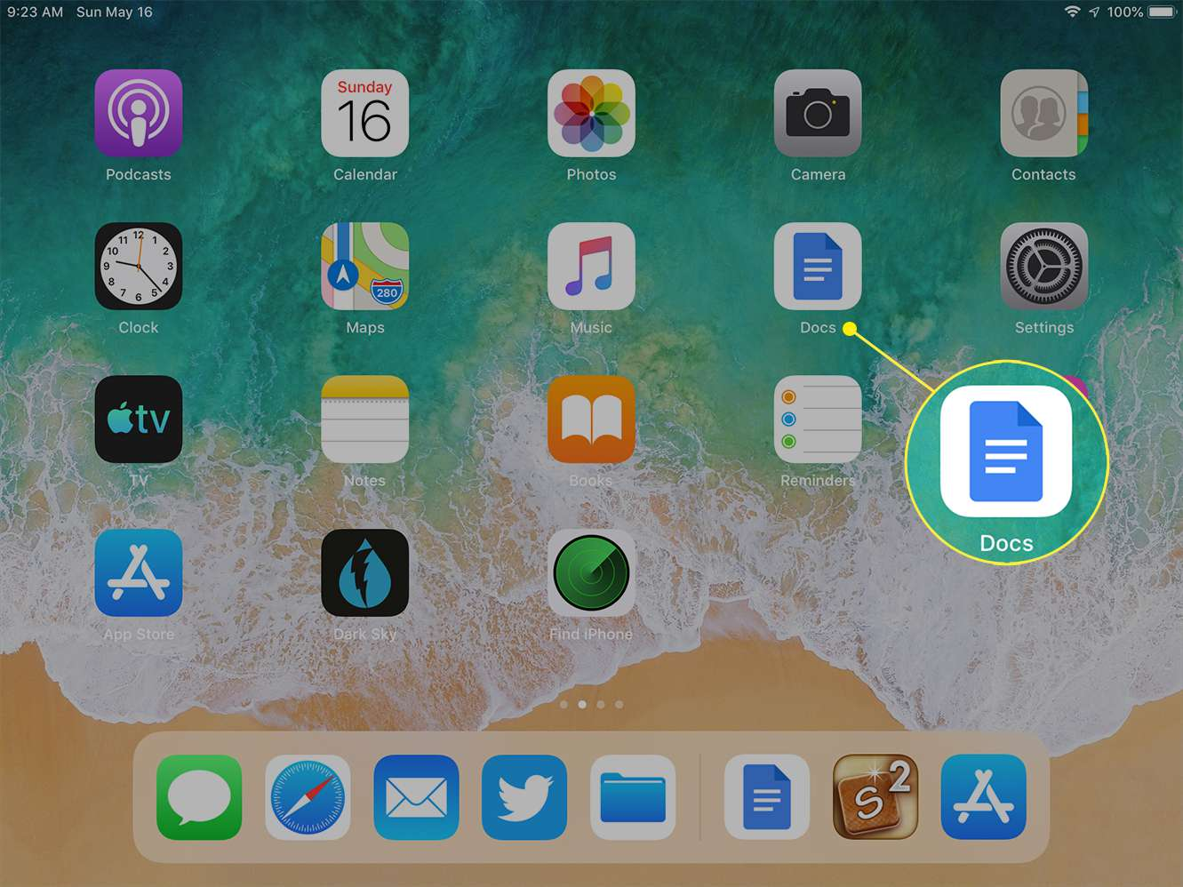 The iPad home screen with the Docs app highlighted