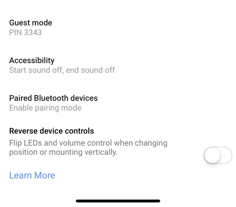 Google Home showing the location of the Guest Mode function.