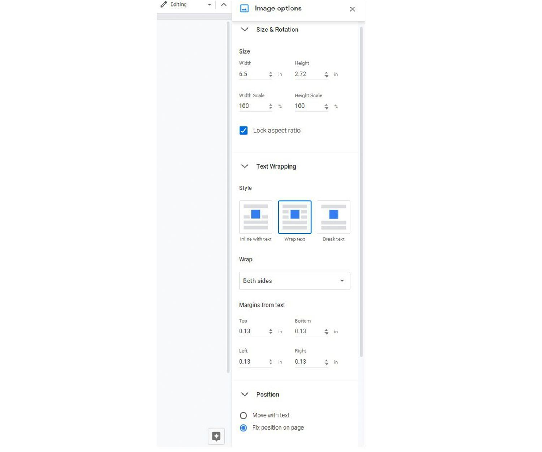 Image editing menu options