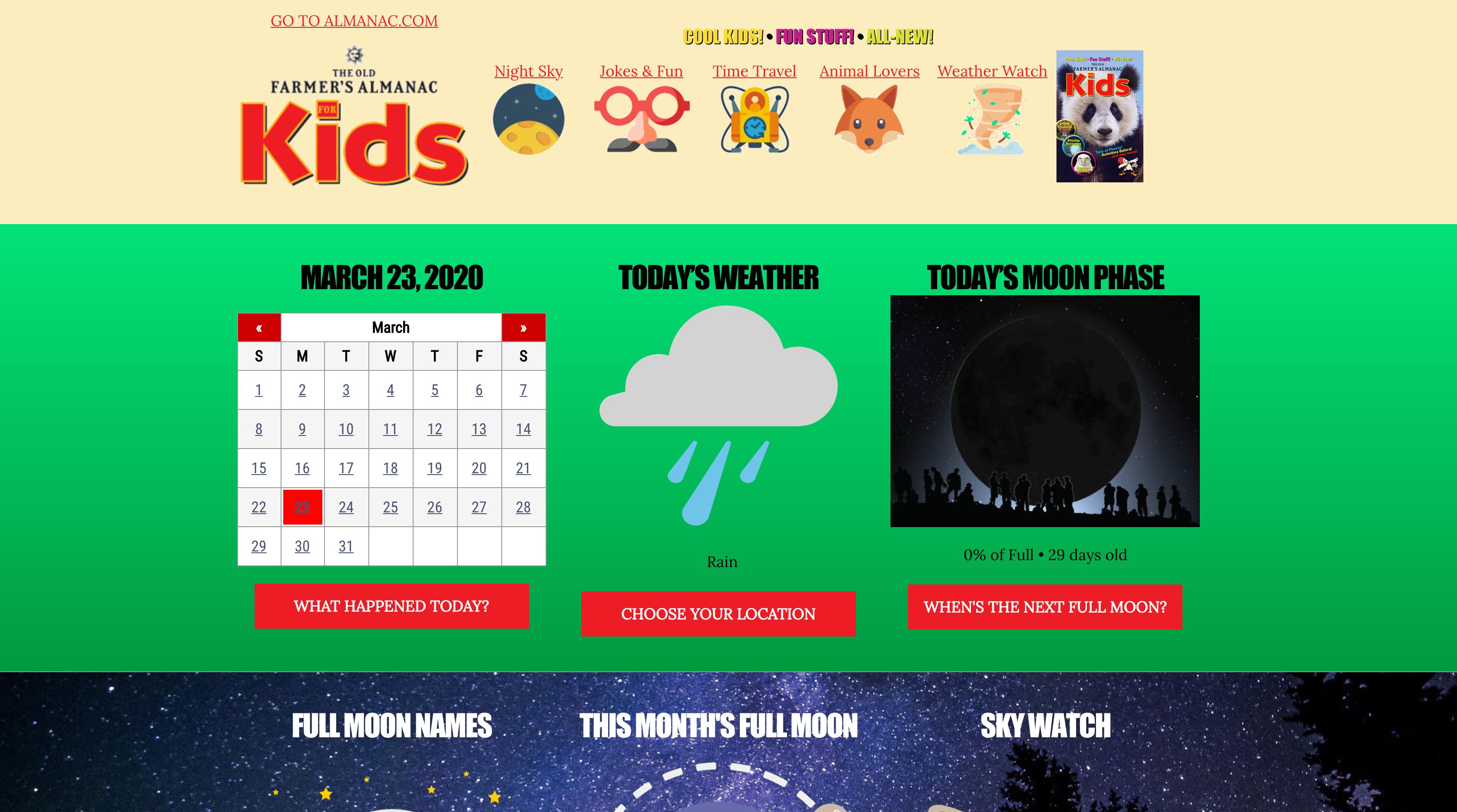 Screenshot of the Old Farmer's Almanac website for kids.