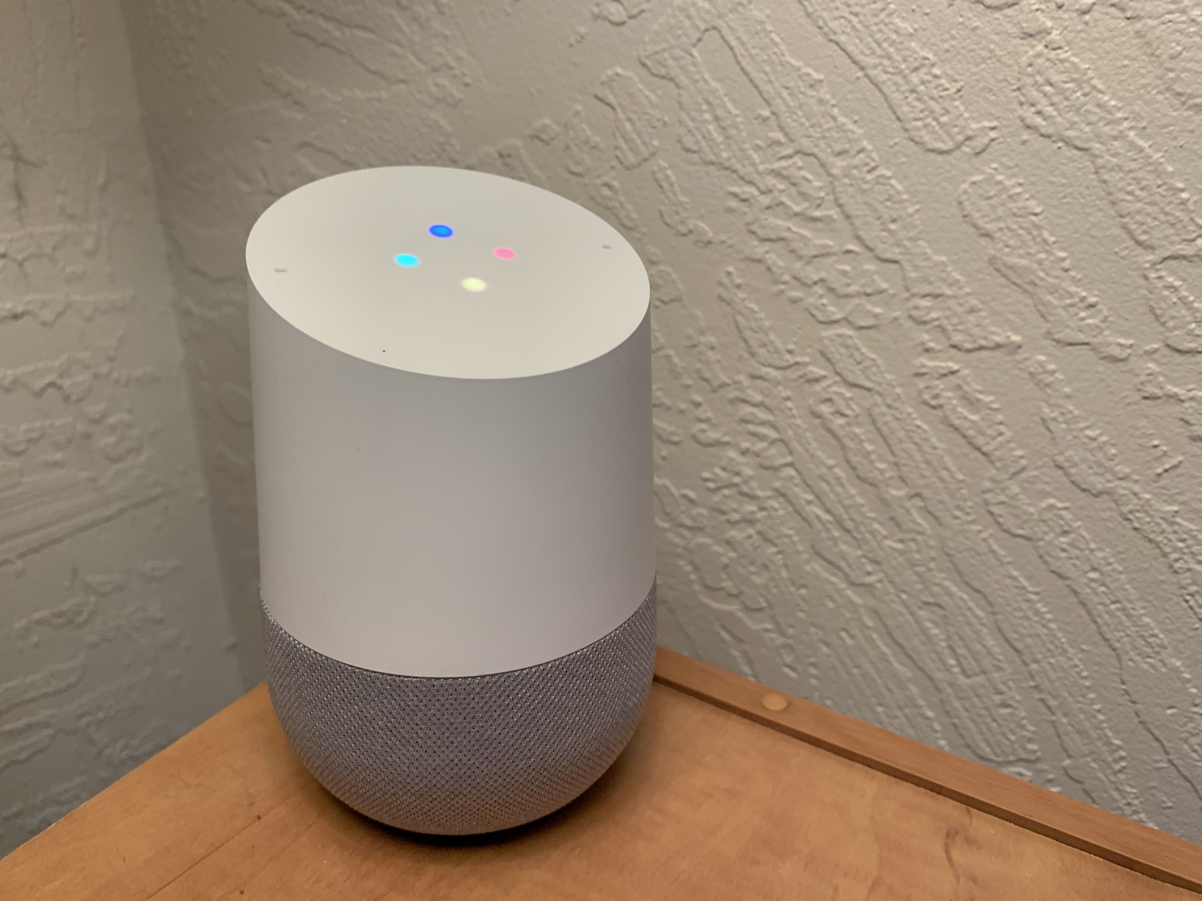 Google Home on a side table