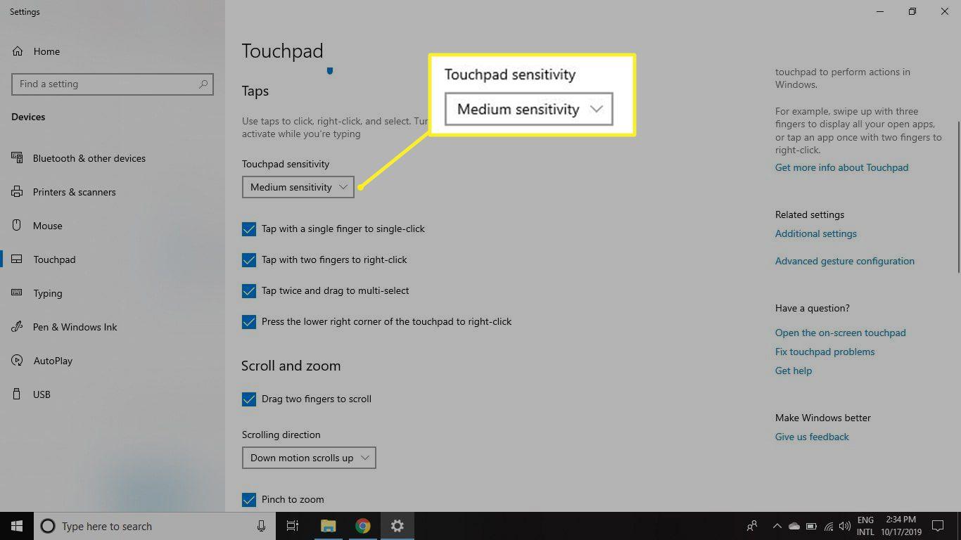 Adjusting touchpad sensitivity