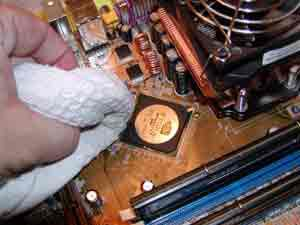 Cleaning off a chipset with a cloth