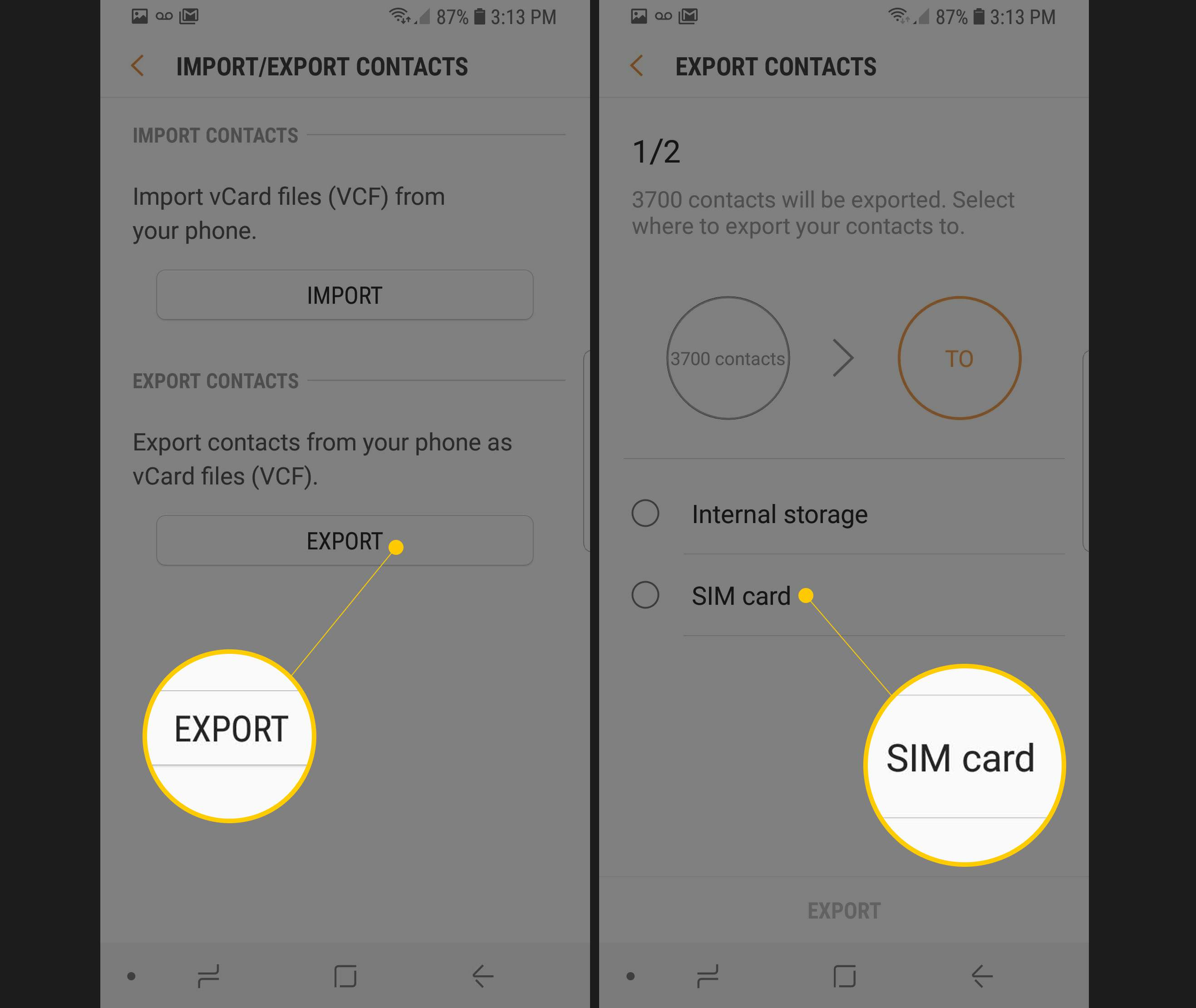 Two Samsung screens showing Export button and SIM card storage option