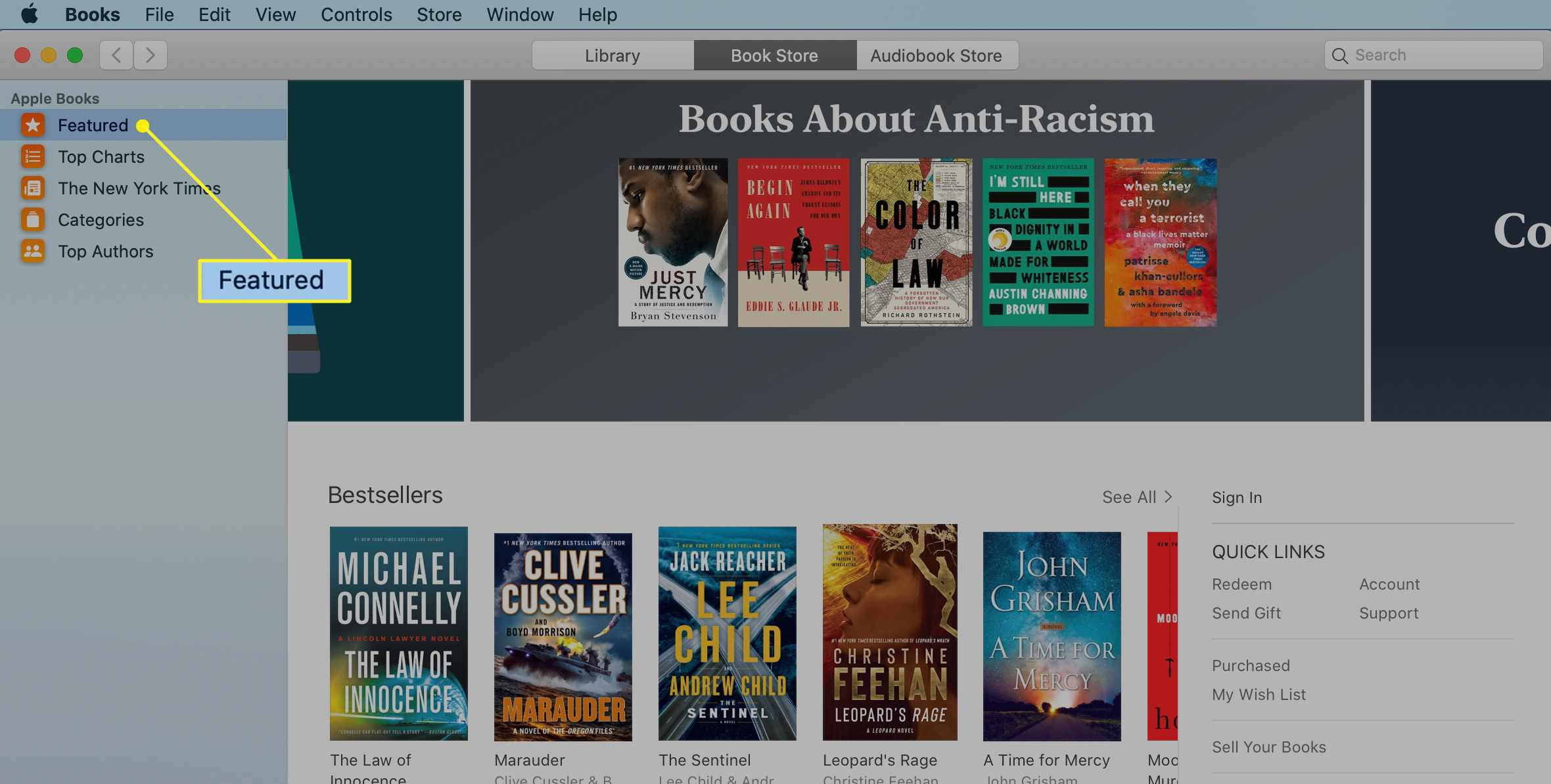 The Mac Music app with Featured selected in the Book Store tab