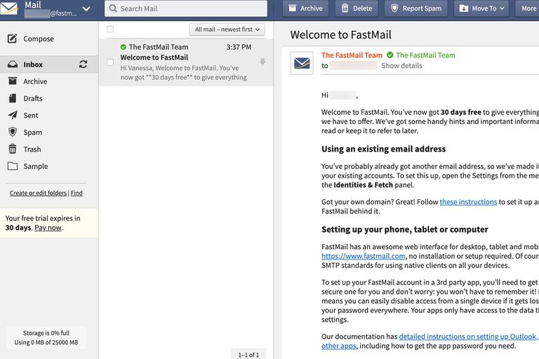Fastmail interface Welcome to Fastmail screen