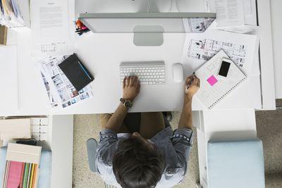 Person at computer desk