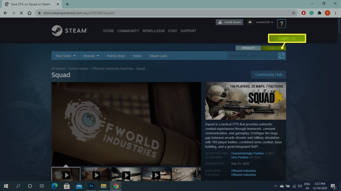 Cart in the Steam Store