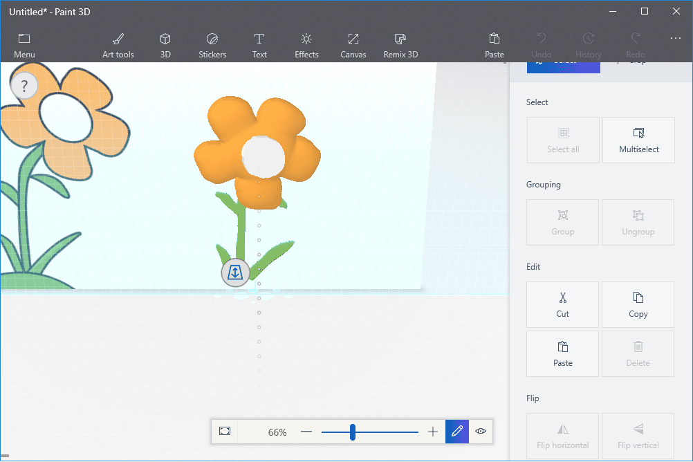 Screenshot showing how Paint 3D models can be arranged in 3D space