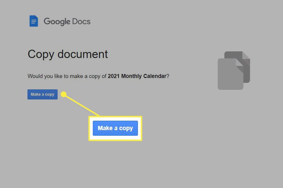 Make a copy button on the google docs website.