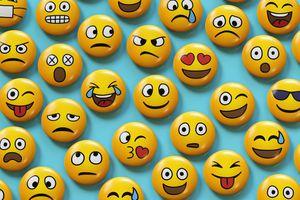 Emoji badges on blue background