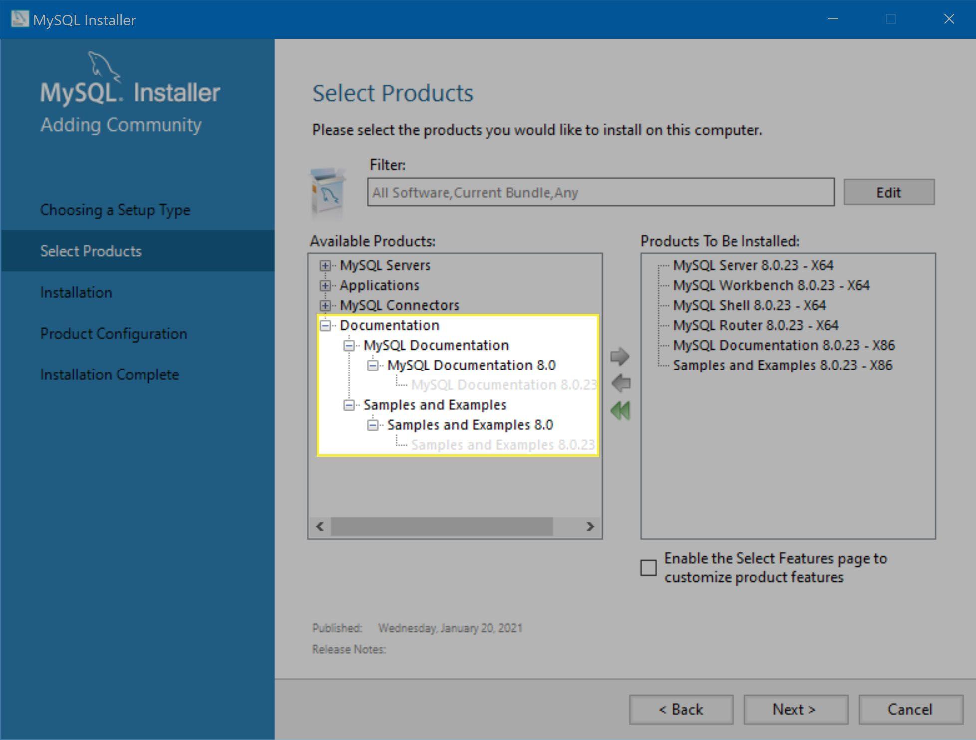 Documentation installation options.