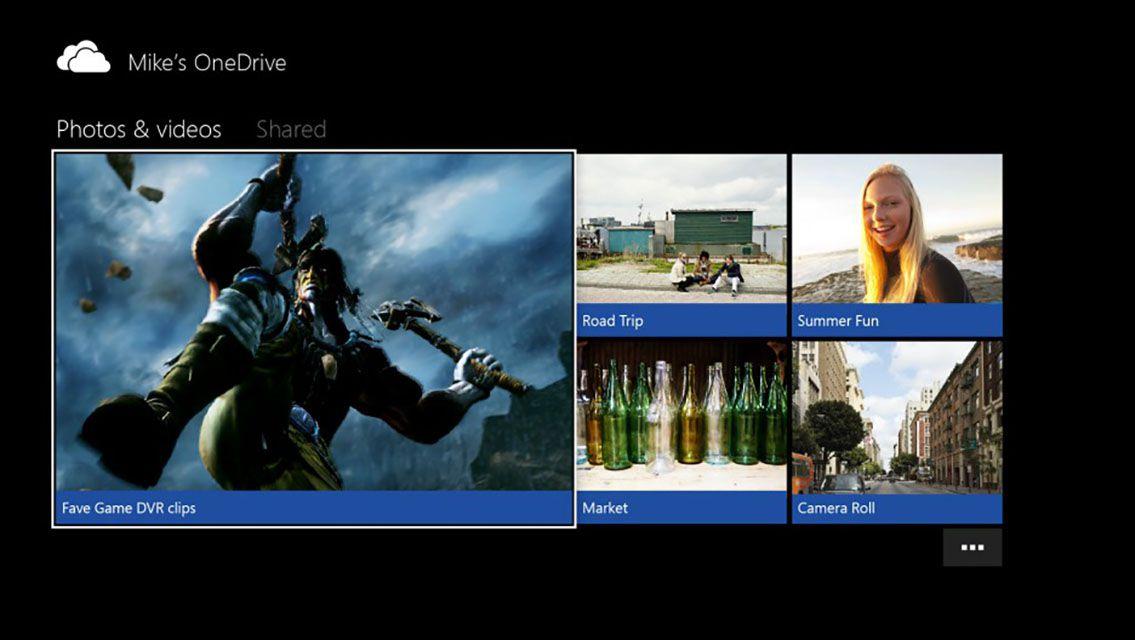 Screenshot of Microsoft's Xbox One OneDrive Application
