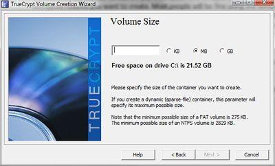 TrueCrypt volume size window