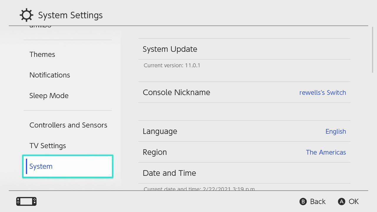 System highlighted in the Nintendo Switch Settings menu