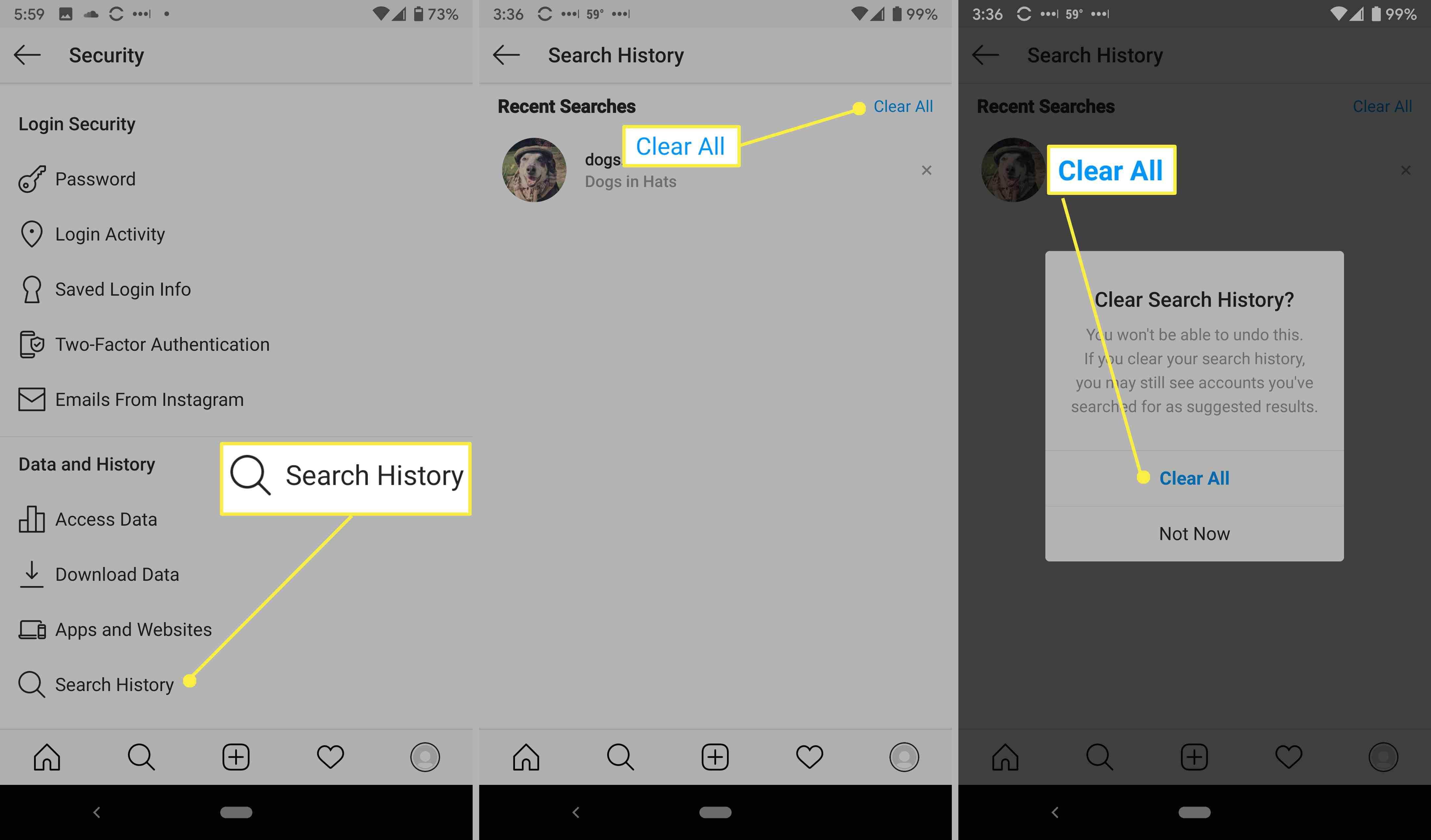 Clearing Instagram search history in the app.