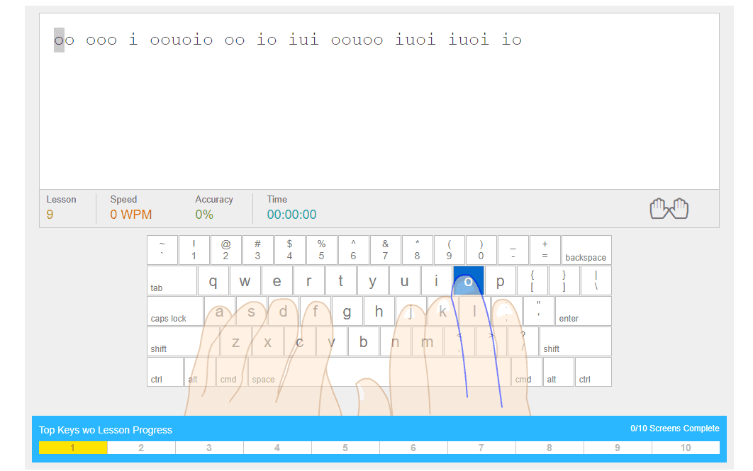 Turtle Diary typing lesson