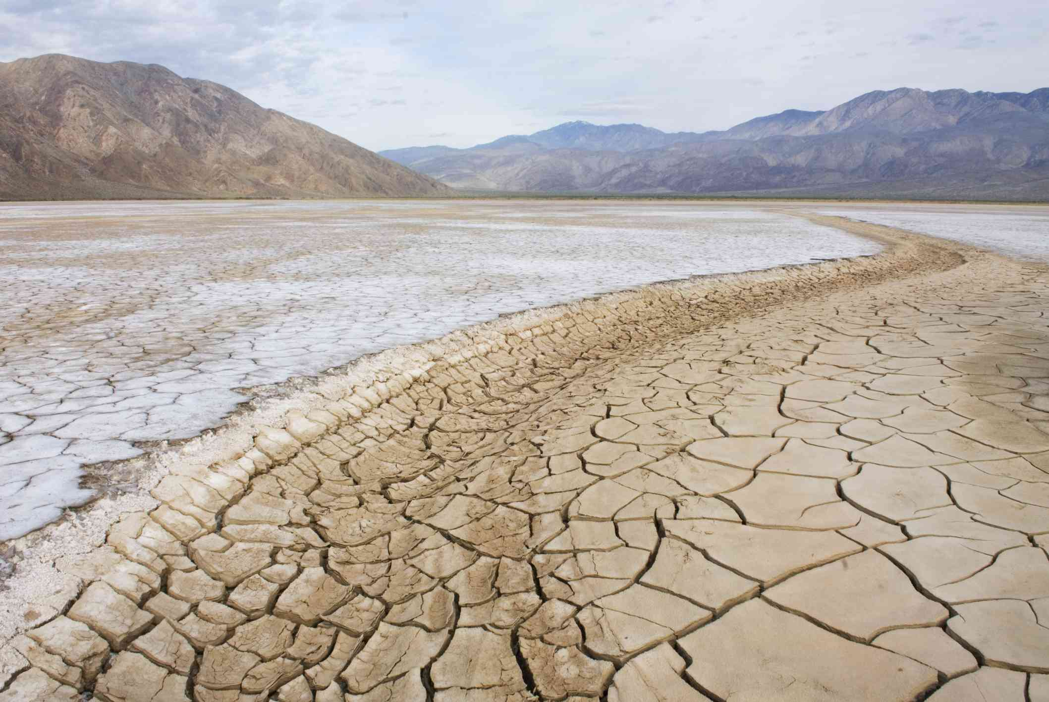 A desert floor, dry and cracked open. (Clark Dry Lake, Anza Borrego Desert State Park California, USA)