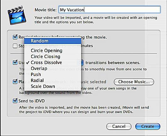 Magic iMovie transitions menu