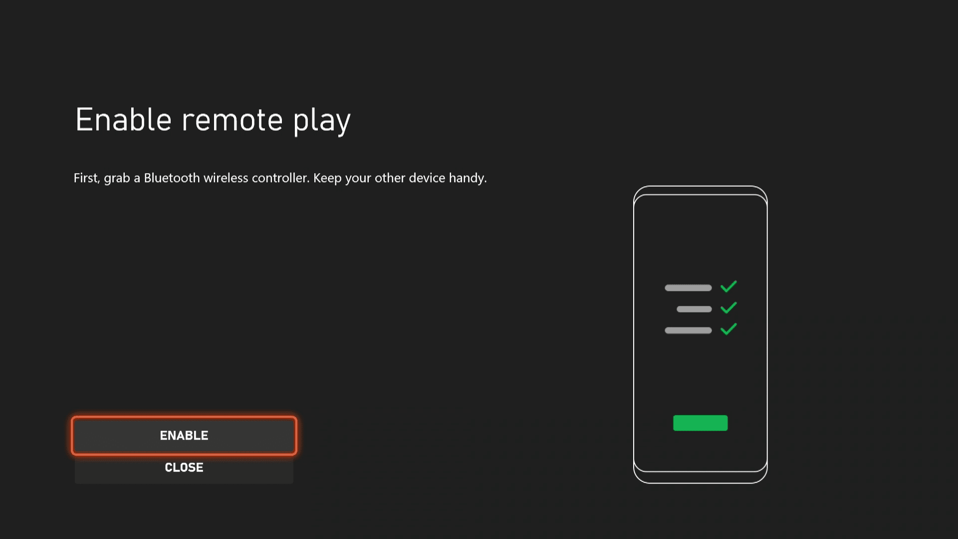 Enabling remote play on an Xbox Series X S.