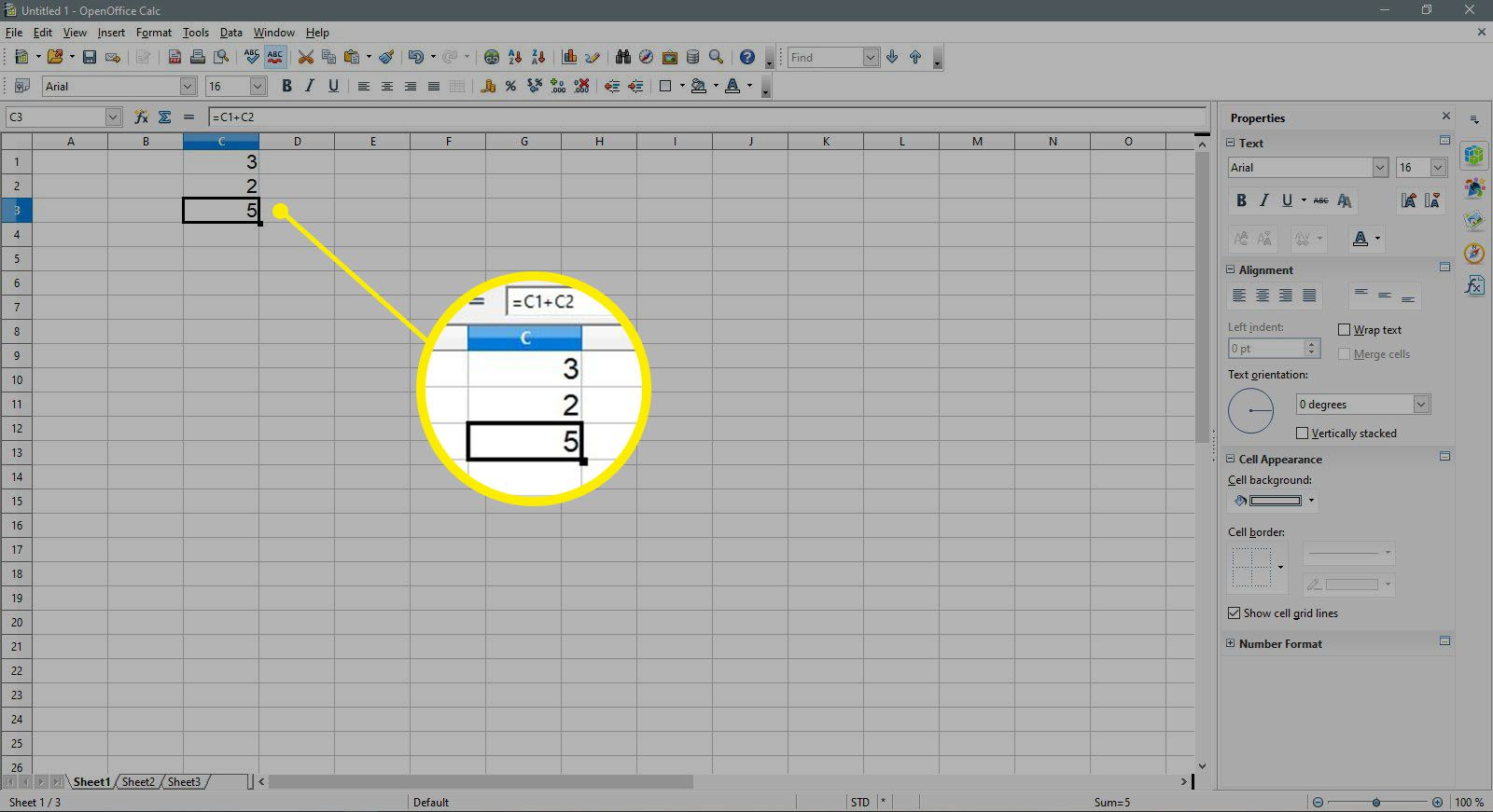 The results of an addition formula in OpenOffice Calc.