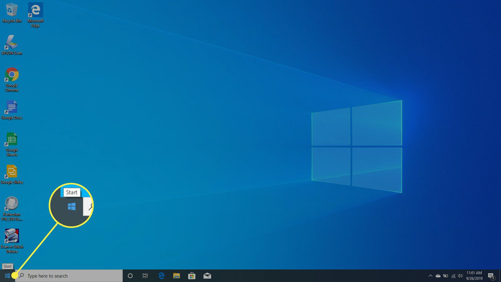 The Start button in Windows 10