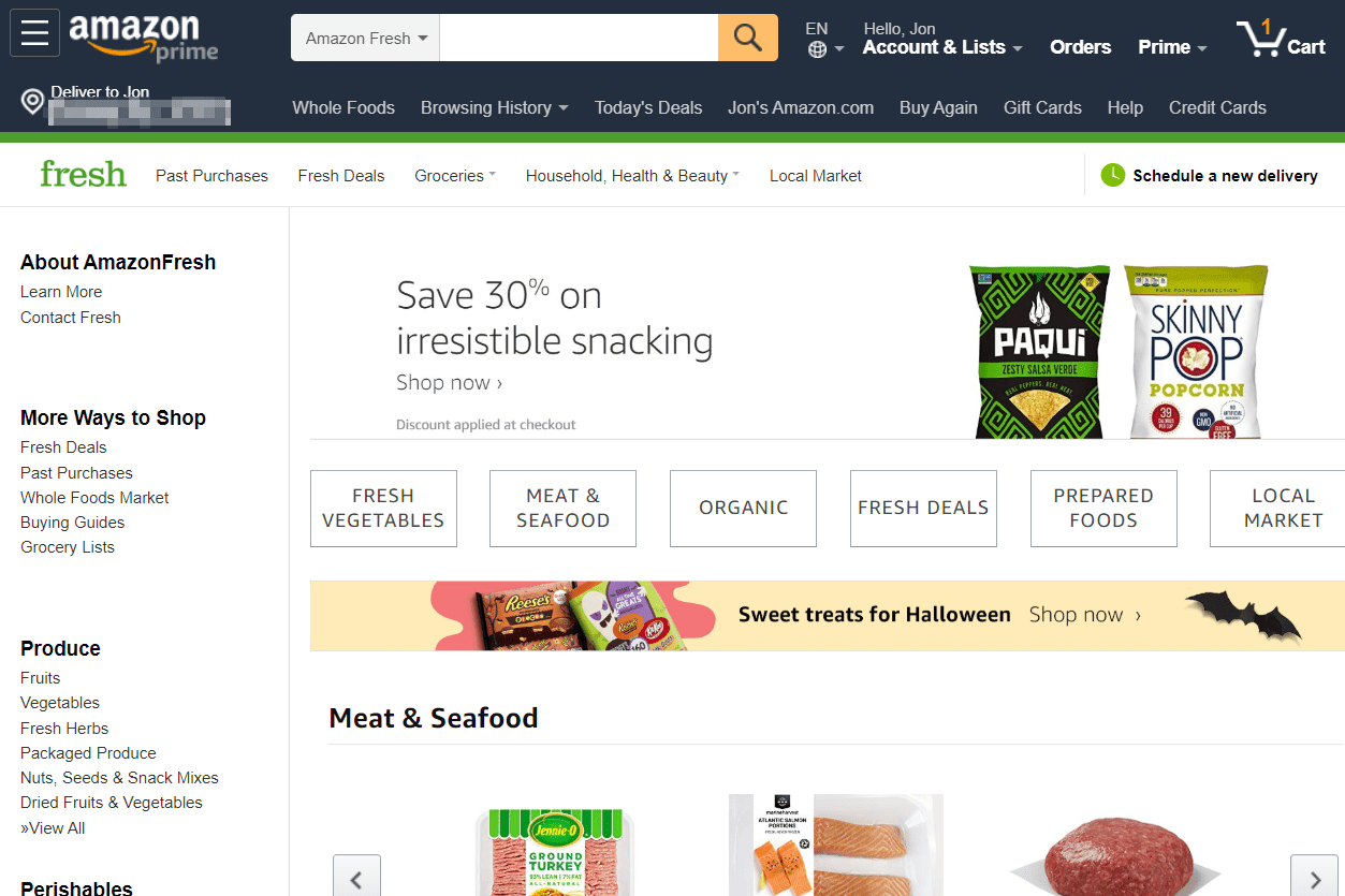 AmazonFresh online grocery site