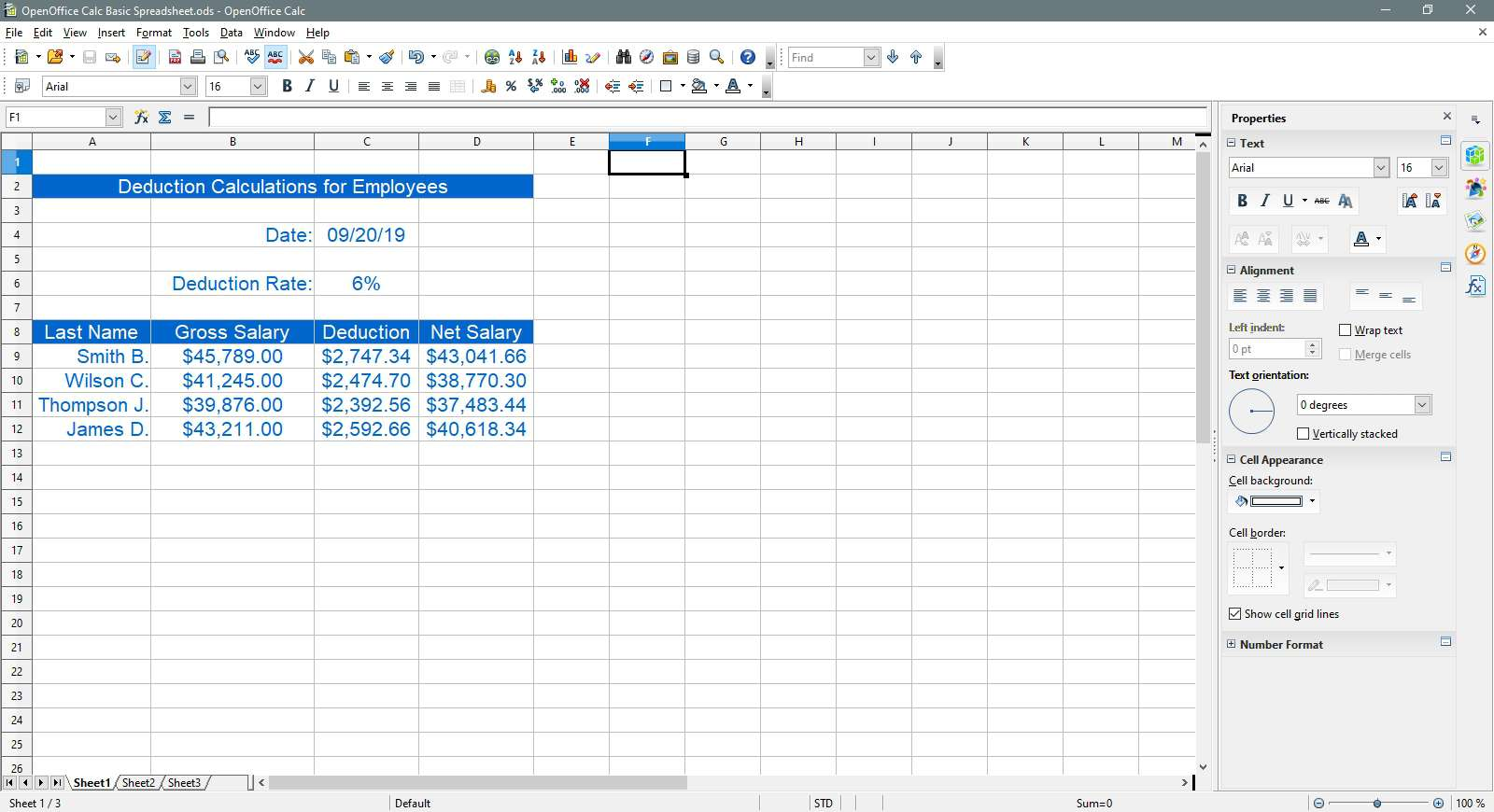 The finished spreadsheet in OpenOffice Calc.