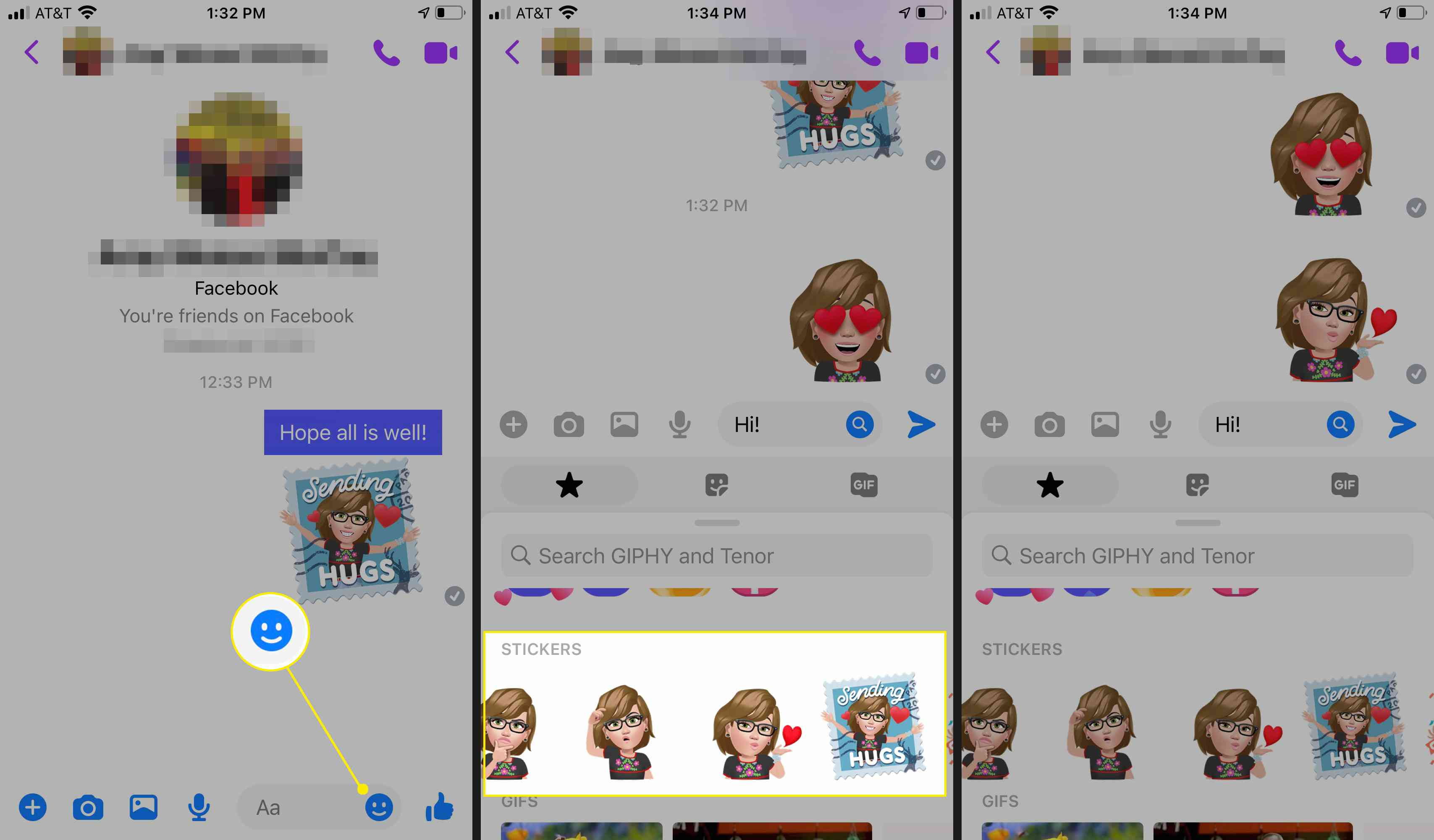 Sending a Facebook Avatar from within Messenger
