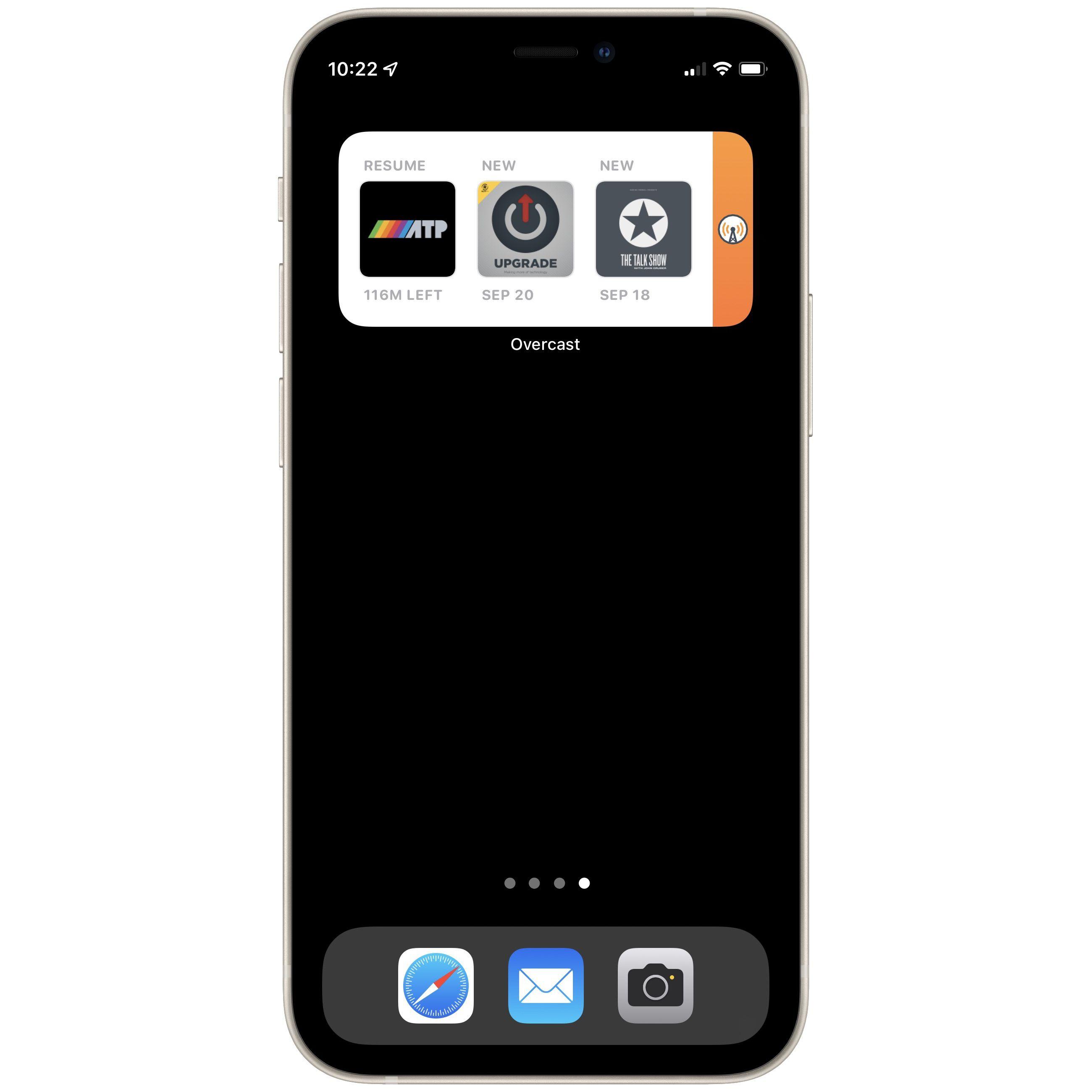 Overcast app widget on iPhone