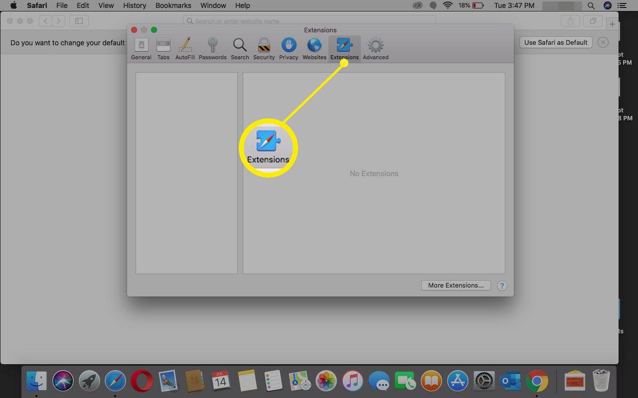 Selecting Extensions in Safari.