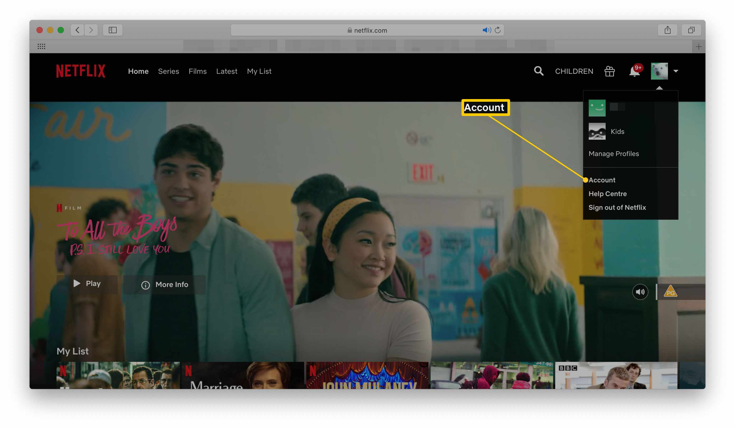 Netflix home page with account option highlighted