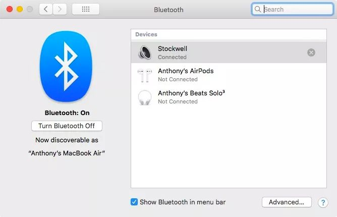 Bluetooth system preferences in macOS