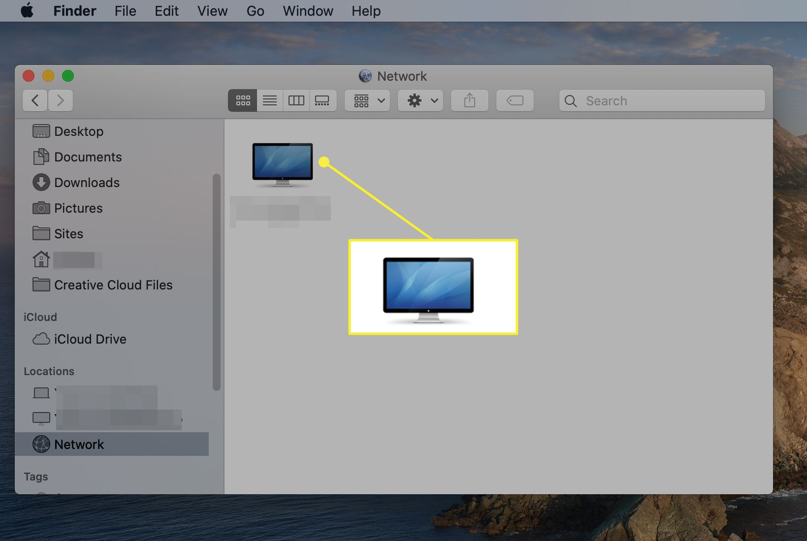 List of shared computers from the Network dialog box under Locations in the Finder Sidebar in macOS