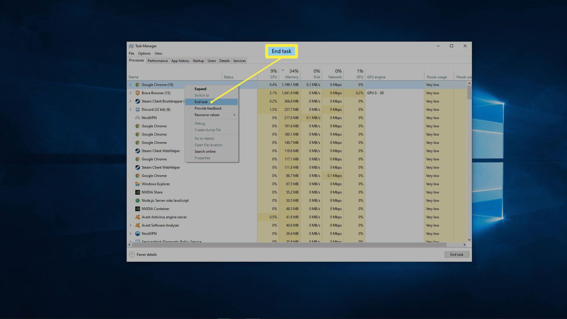 A screenshot of Windows processes.