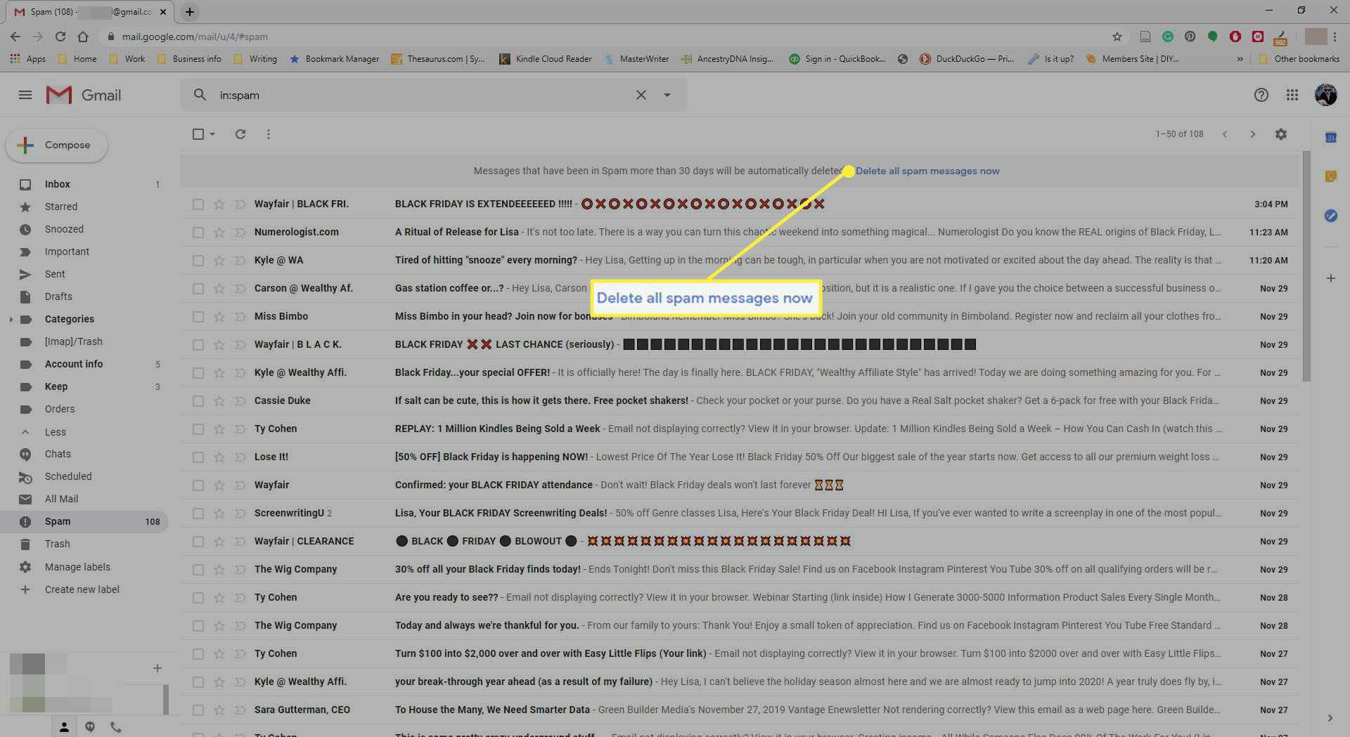 Selecting to delete all spam in Gmail.