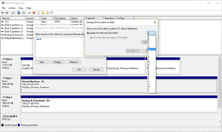 Screenshot of the Change Drive Letter or Path Option in Disk Management in Windows 10
